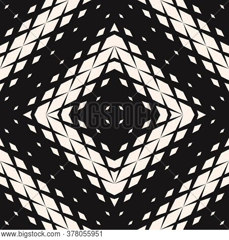 Vector Geometric Seamless Pattern With Fading Rhombuses, Diamonds, Grid, Repeat Tiles. Concentric Ha