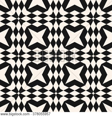 Vector Monochrome Geometric Seamless Pattern. Abstract Black And White Ornament With Squares, Triang