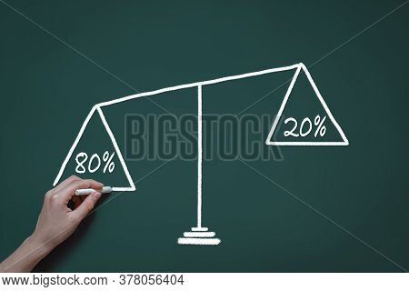 Drawing On A Blackboard With Chalk, The Pareto Principle, 20 Percent Of The Effort Gives 80% Of The