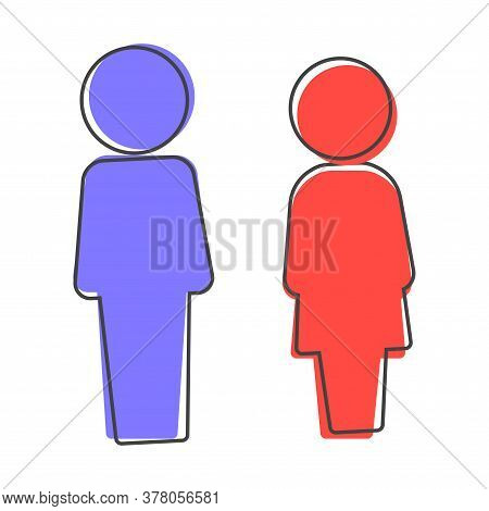 Vector Colored Sticker Of Toilet. Man And Women. Plate Icon On The Door Wc Cartoon Style On White Is