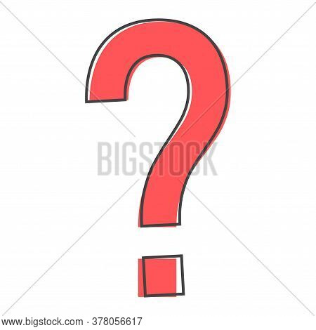 Question Mark Icon. Flat Icon Question Mark Cartoon Style On White Isolated Background.