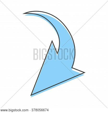 Arrow Pointing Down. Arrow Vector Icon Cartoon Style On White Isolated Background.