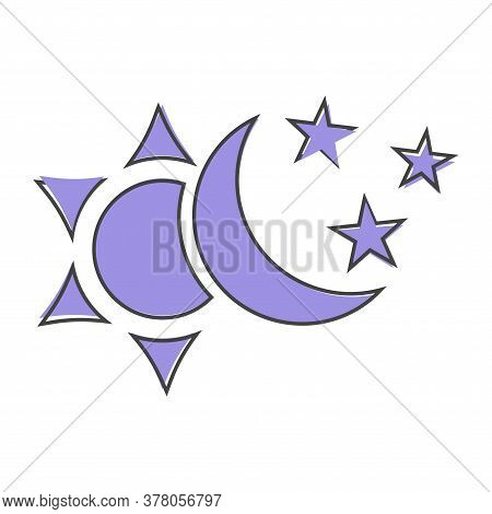 Sun And Moon With Stars Vector Icon. The Symbol Of The Change Of Day And Nigh Cartoon Style On White
