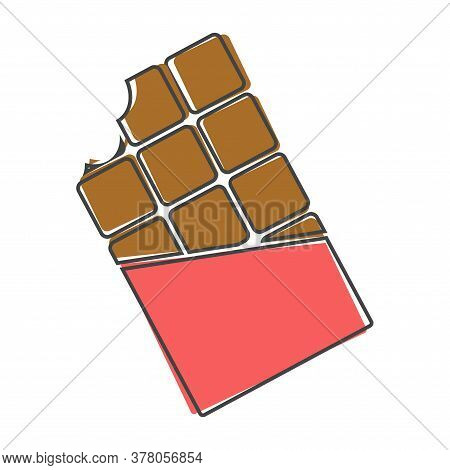 Tile Of Chocolate Flat Vector Icon. Bit Off Hocolate In A Torn Wrapper Cartoon Style On White Isolat