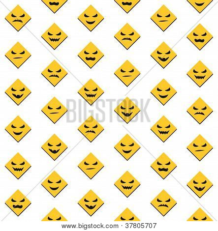 Halloween seamless background with scary faces