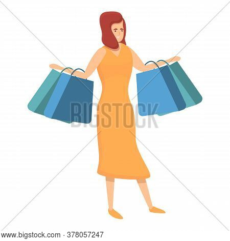 Habit Woman Shopping Icon. Cartoon Of Habit Woman Shopping Vector Icon For Web Design Isolated On Wh