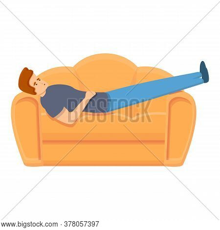 Habit Rest On Sofa Icon. Cartoon Of Habit Rest On Sofa Vector Icon For Web Design Isolated On White