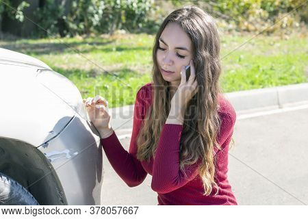 Girl Notices Fresh Scratches On The Bumper Of The Car And Is Upset, Then She Calls The Police And In