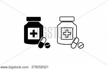 Pills With Shadow Icon. Drugstore. Medicine Bottle. Medicament. Vector On Isolated White Background.