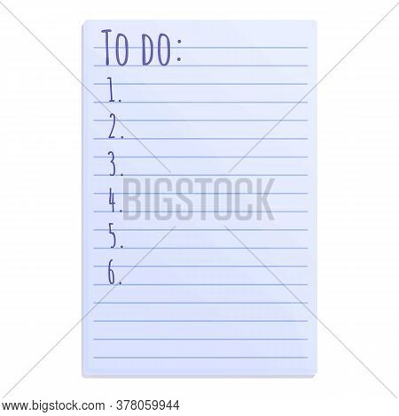 School To Do List Icon. Cartoon Of School To Do List Vector Icon For Web Design Isolated On White Ba