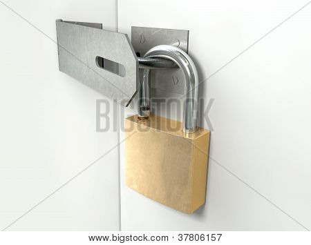 Padlock And Hasp Unlocked Perspective