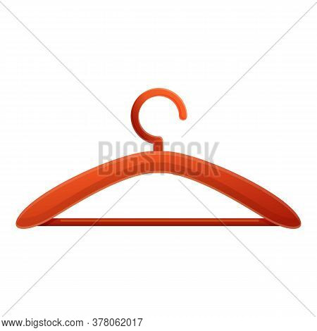 Wood Clothes Hanger Icon. Cartoon Of Wood Clothes Hanger Vector Icon For Web Design Isolated On Whit