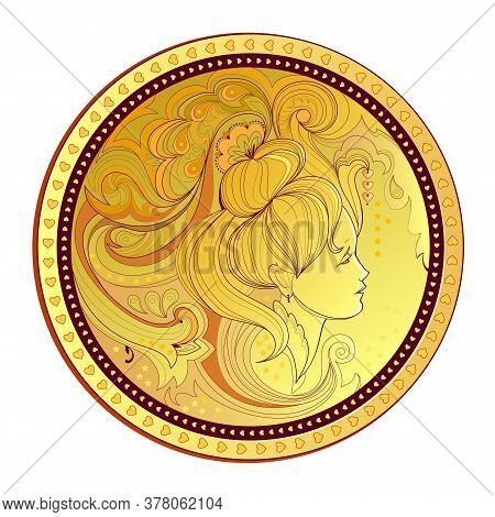 Gold Coin With Woman Portrait. Modern Print For Clothes And Fabric. Medallion With Fairies Head In F