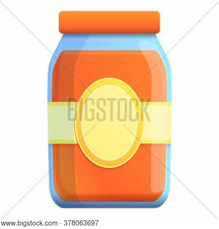 Sauce Glass Jar Icon. Cartoon Of Sauce Glass Jar Vector Icon For Web Design Isolated On White Backgr