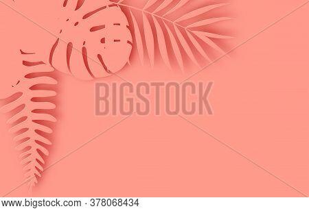 Tropical Paper Palm Leaves Frame. Summer Tropical Leaf. Origami Exotic Hawaiian Jungle, Summertime B