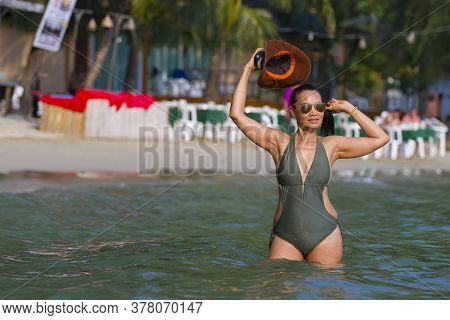 Woman With Swimsuit Stand Sexy At Beach Koh Chang Thailand. Koh Chang Is Located In The Eastern Gulf