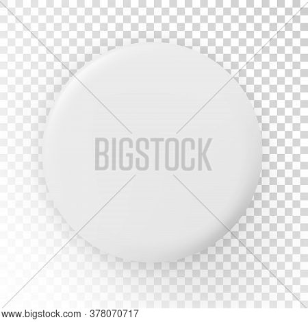 Realistic Blank White Badge - Stock Vector