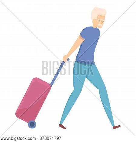 Travelling Senior Man Icon. Cartoon Of Travelling Senior Man Vector Icon For Web Design Isolated On
