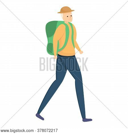 Backpack Elderly Man Icon. Cartoon Of Backpack Elderly Man Vector Icon For Web Design Isolated On Wh