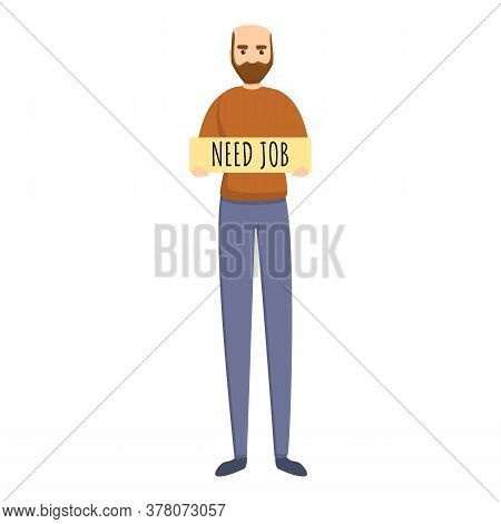 Seeking Job Man Icon. Cartoon Of Seeking Job Man Vector Icon For Web Design Isolated On White Backgr