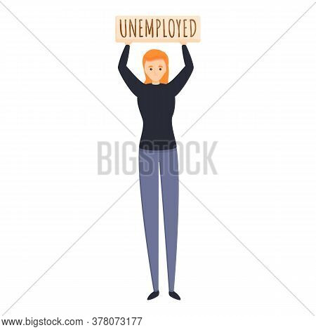 Jobless Girl Icon. Cartoon Of Jobless Girl Vector Icon For Web Design Isolated On White Background