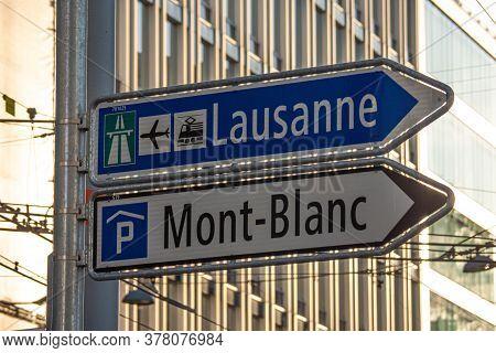 Direction Signs In Geneva In Switzerland - City Of Geneva, Switzerland - July 8, 2020