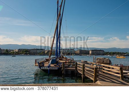 Sailing Boat On Lake Geneva In Geneva In Switzerland - City Of Geneva, Switzerland - July 8, 2020