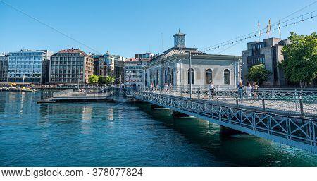 Pedestrian Bridge Over River Rhone In Geneva In Switzerland - City Of Geneva, Switzerland - July 8,