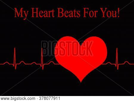 Ekg Normal Sinus Rhythm Heartbeat On Dark Background Going Through A Heart. Red On Black Contrasting