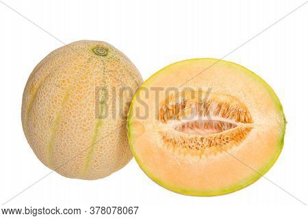 Whole Ripe Cantaloupe Next To Half Cantaloupe Cute Lengthwise, Showing Seeds And Connective Fibers H
