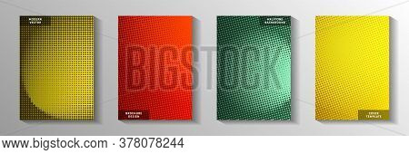 Simple Circle Faded Screen Tone Front Page Templates Vector Collection. Digital Notebook Perforated