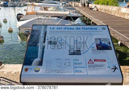 Information Board Of Jet D Eau In Geneva In Switzerland - City Of Geneva, Switzerland - July 8, 2020