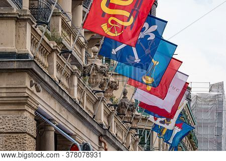 Flags At A Hotel In Zurich - Zurich, Switzerland - July 15, 2020