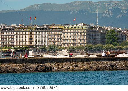 Famous Companies In Geneva In Switzerland - City Of Geneva, Switzerland - July 8, 2020