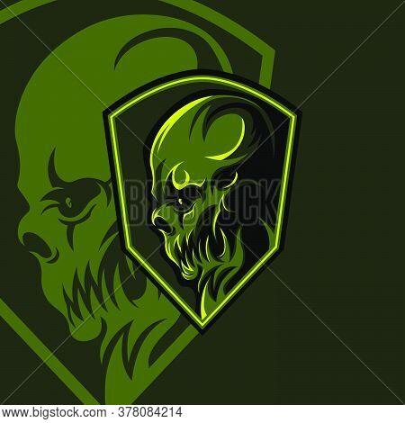 Green Enemy Esport Gaming Mascot Logo Template