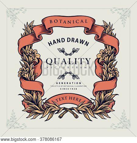 High Quality Laurel Wreath Frame Vector. Style Design Classy Botani Illustration.