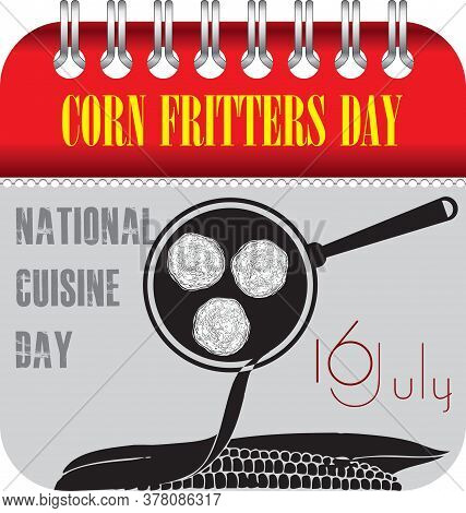 Calendar With Perforation For Changing Dates - July Corn Fritters Day