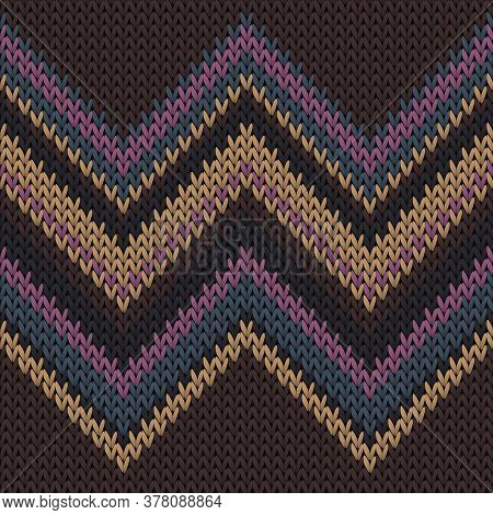 Cool Zig Zal Lines Knitting Texture Geometric Vector Seamless. Carpet Knitwear Structure Imitation.