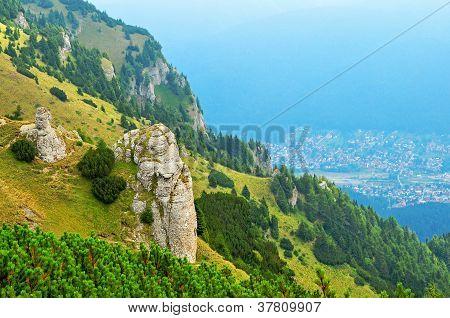 Beautiful summer landscape in the mountains of Transylvania Sinaia Romania poster