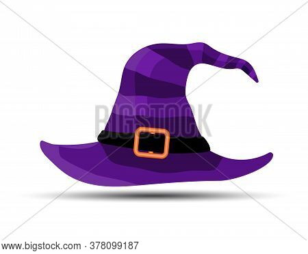 Violet Witch And Wizards Hat With Belt. Halloween Costume. Vector Illustration In Flat Style.