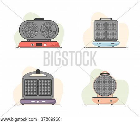 Waffle-iron. Set Of Waffle Makers Isolated On White. Cooking Breakfast. Modern Vector Illustration I
