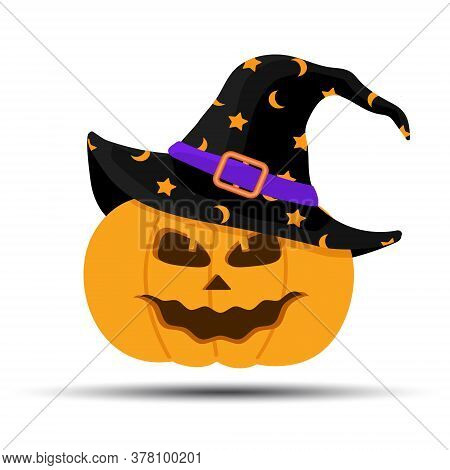 Jack-o-lantern. Halloween Pumpkin With Witches Hat Isolated On White Background. Holidays Cartoon Ch