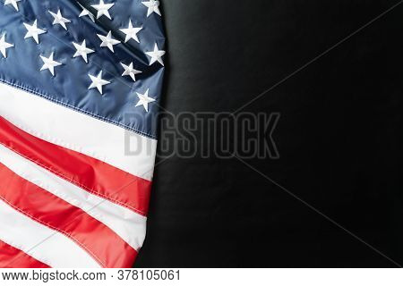 American Flag On Black Background, Stars And Stripes Closeup