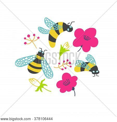 T-shirt Print Bumblebees And Flowers Vector Illustration