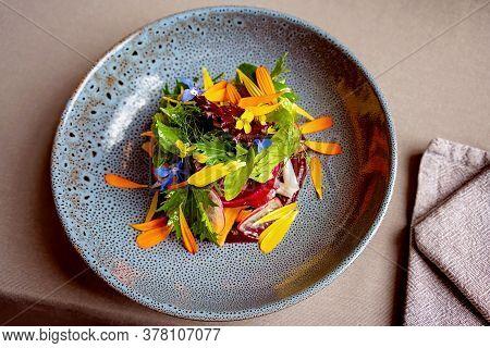 Farmers Market Garden Ingredients On A Plate - Bush Food Restaurant Entree