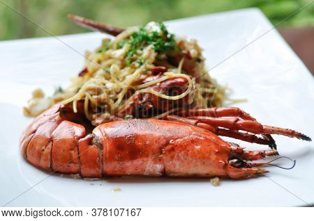 Spaghetti, Lobster Spaghetti Or Shrimp Spaghetti Dish