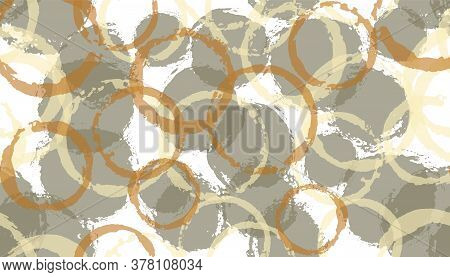 Allover Painted Circles Geometry Fabric Print. Circular Blot Overlapping Elements Vector Seamless Pa