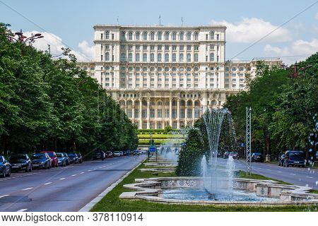 House Of The People Seen From Unirii Boulevard, In Bucharest, Capital City Of Romania. The Boulevard