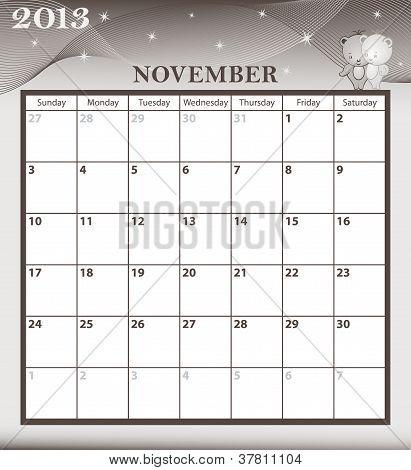 Calendar 2013 November