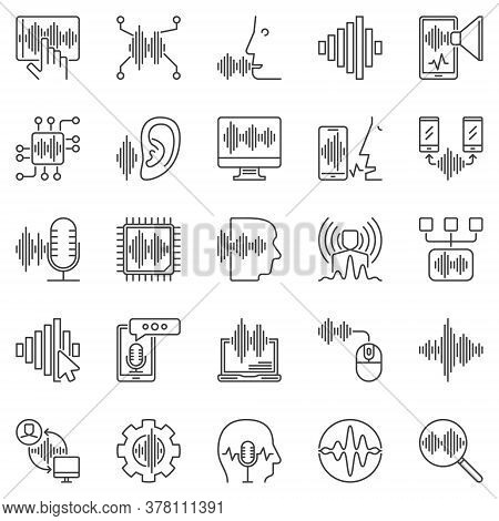 Speech And Voice Recognition Outline Icons Set. Vector Voice Control, Soundwave And Other Sound Line